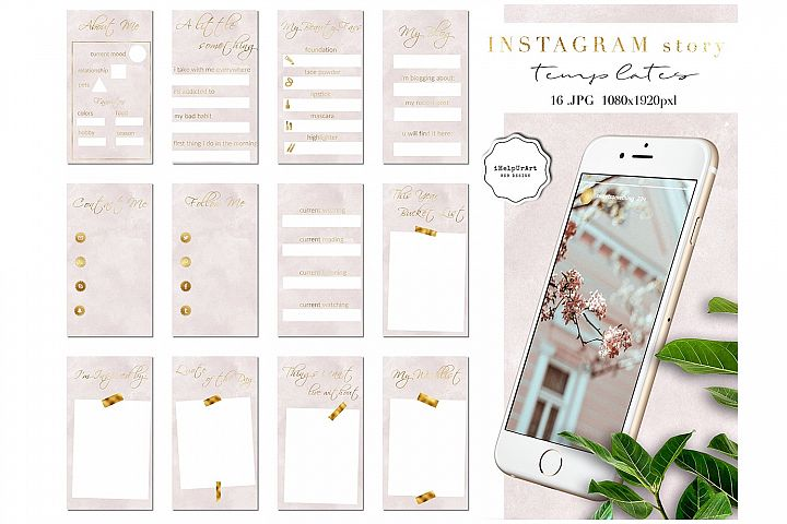 Instagram Story Templates - Blush Pink Watercolor and Gold