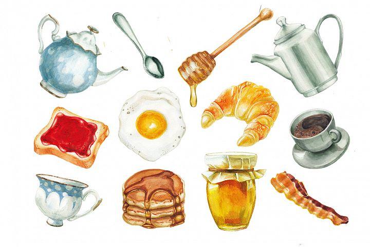 Watercolor breakfast set