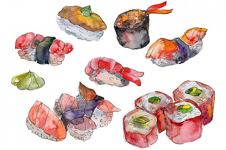 Sushi set Felix watercolor png