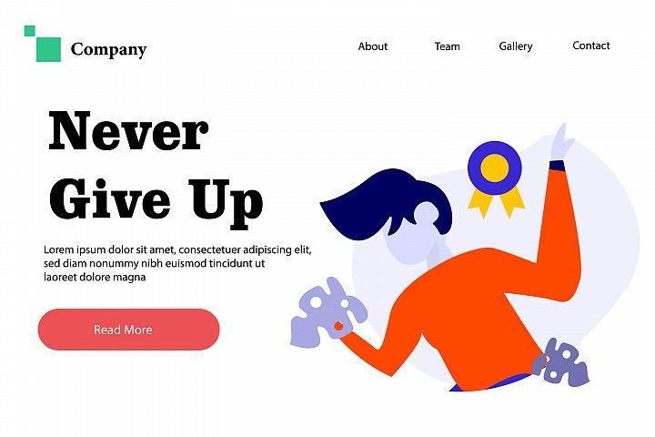 Never Give Up - Vector Flat Illustration