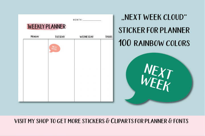 Next week planner stickers, Cloud planner stickers