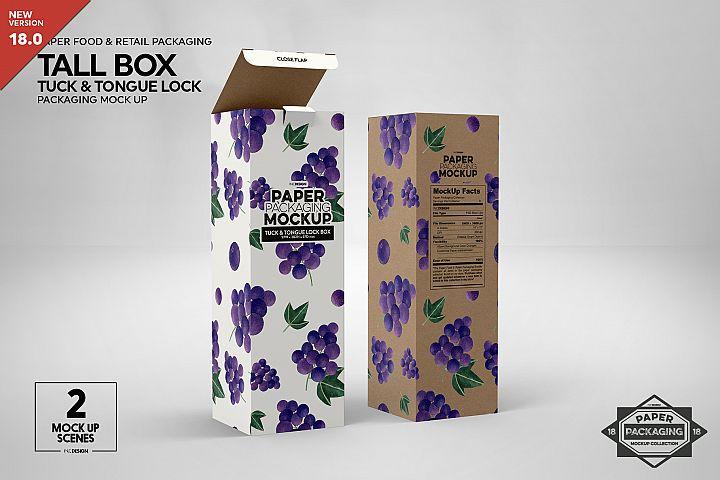 Tall Box Tuck & Tongue Lock Packaging Mockup