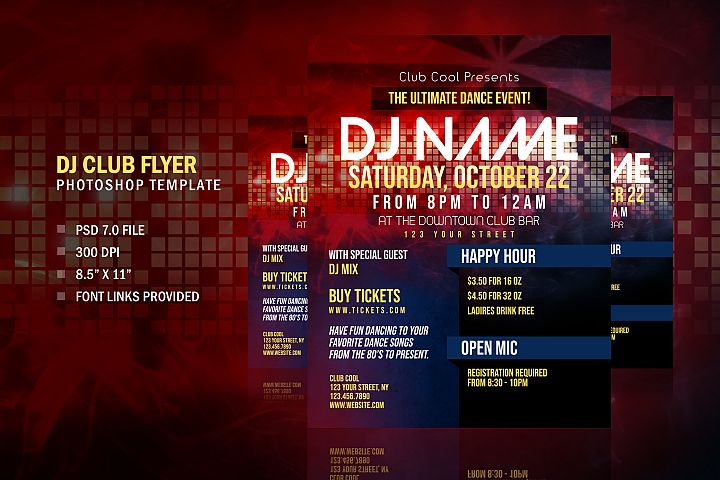 DJ Party Club Flyer, Photoshop Template Design