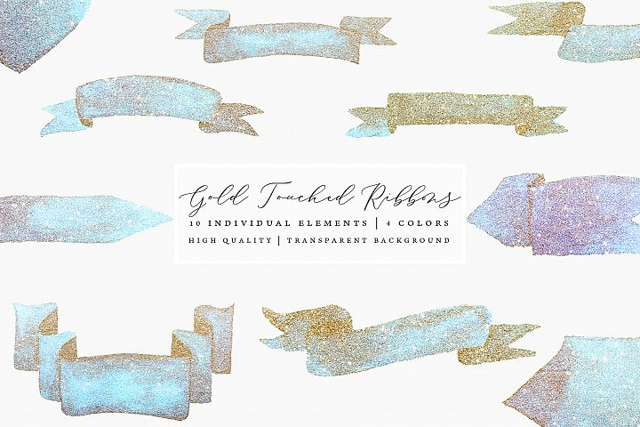Gold Touched Ribbons - Blue, Pink, Gold