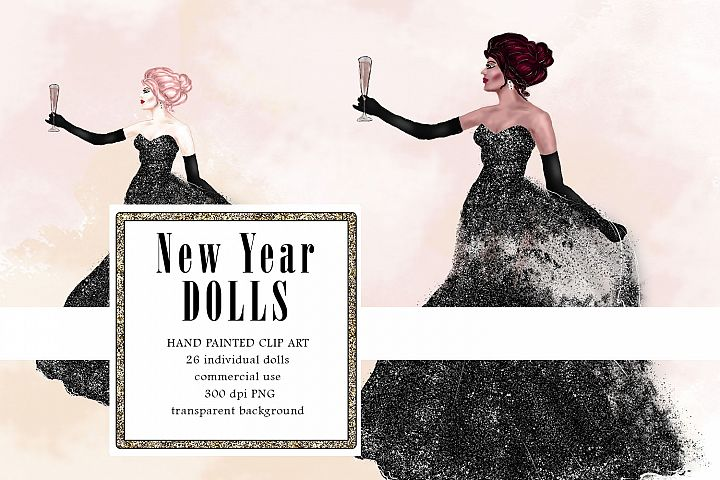 Glitter Gown Fashion Illustration, New Year Dress Doll Clipa