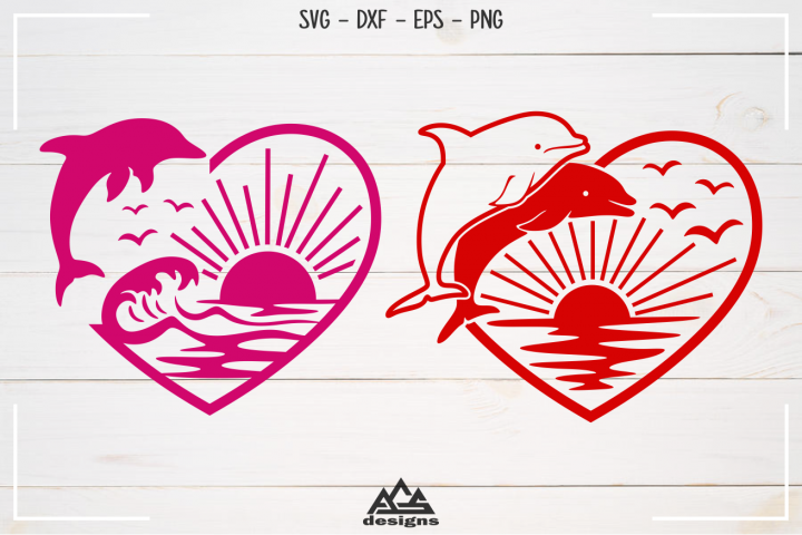 Dolphin Ocean Beach Heart Love Svg Design