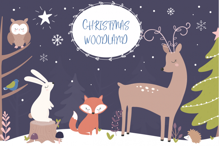 Christmas Woodland clipart and paper set