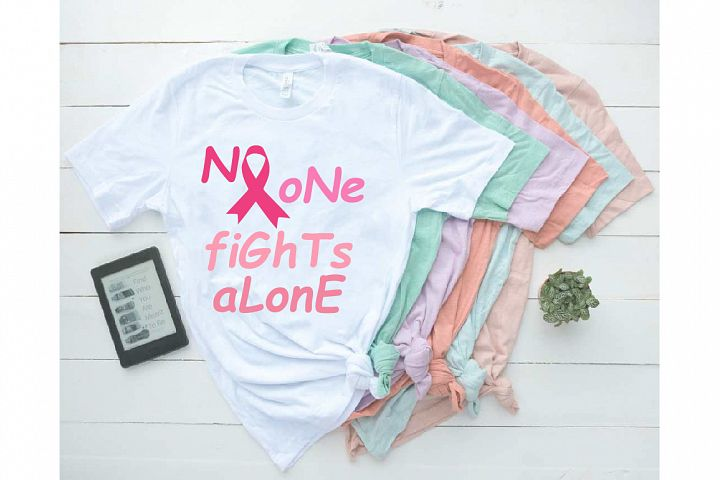 Breast Cancer No One Fights Alone Ribbon Rope SVG