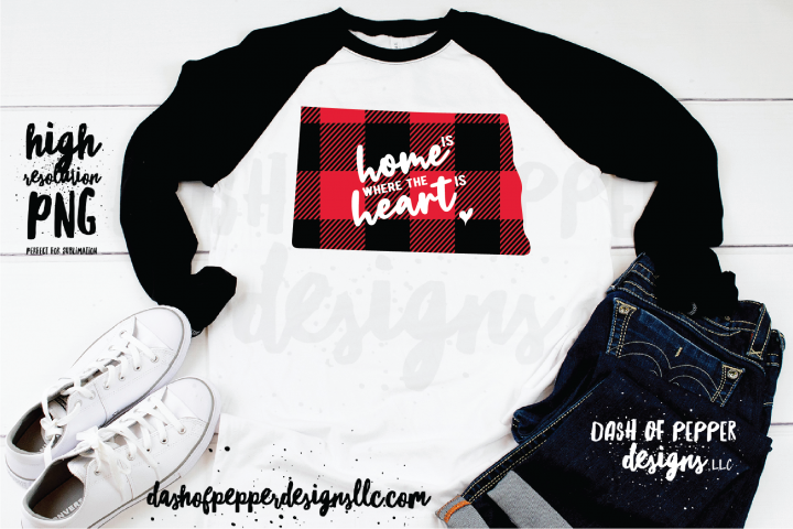 North Dakota Home is Where the Heart is - A Plaid PNG