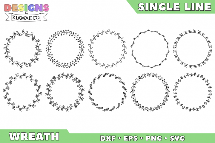 Single Line Wreath Set 1 - DXF, EPS, PNG, SVG
