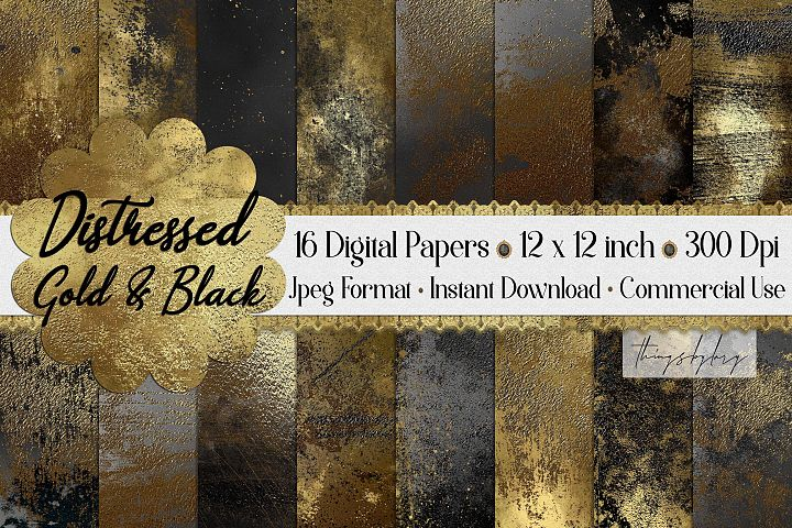 16 Distressed Metallic Gold Foil and Black Digital Papers