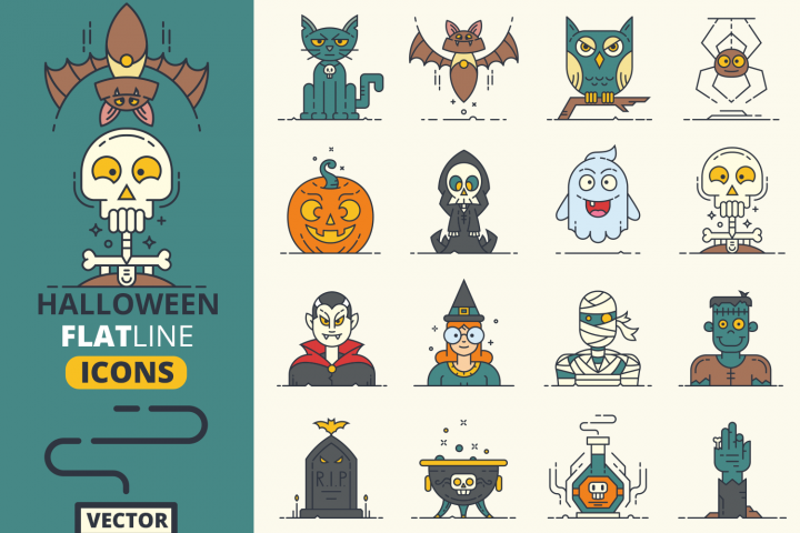 Halloween Flat Line Icons Vol.1