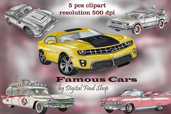 Famous car clipart, watercolor cars