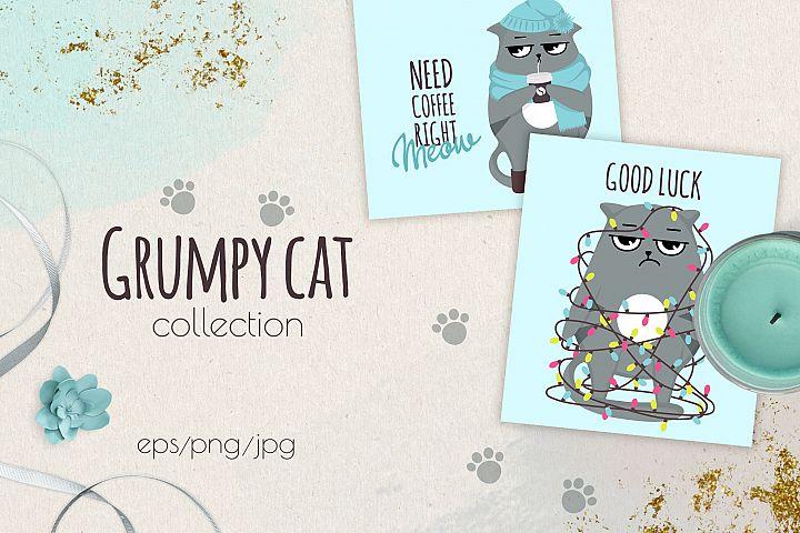 Grumpy cats vector collection