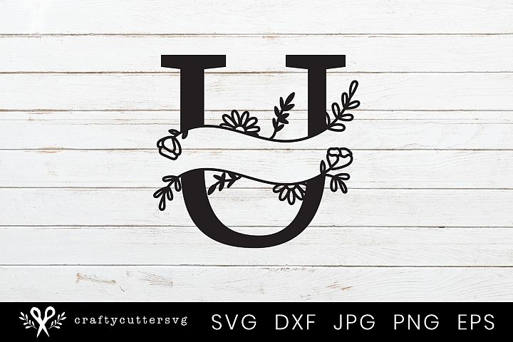 U Split Monogram Letter Handdrawn Botanical Flower Leaves