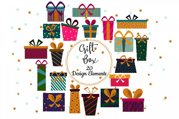 Gift box clip art / Christmas presents clipart