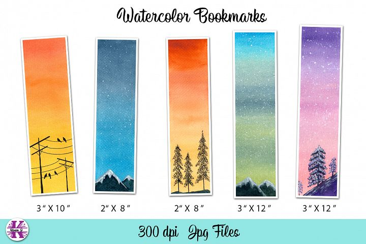 5 Watercolor Bookmarks