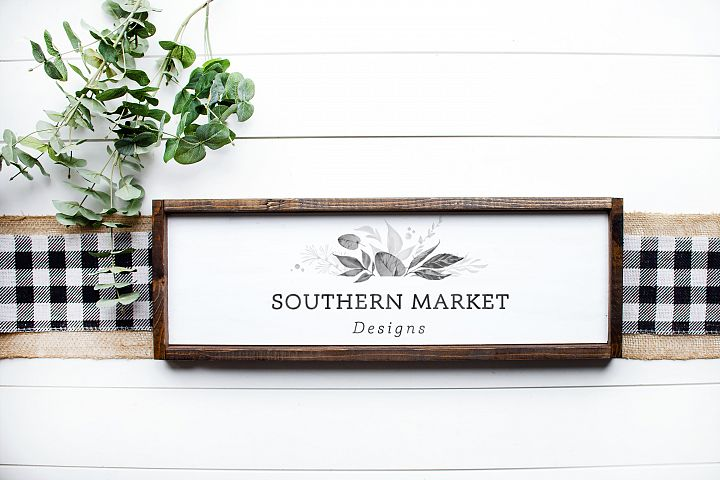 8x24 Framed Wood Sign Mock Up Farmhouse Styled Photo