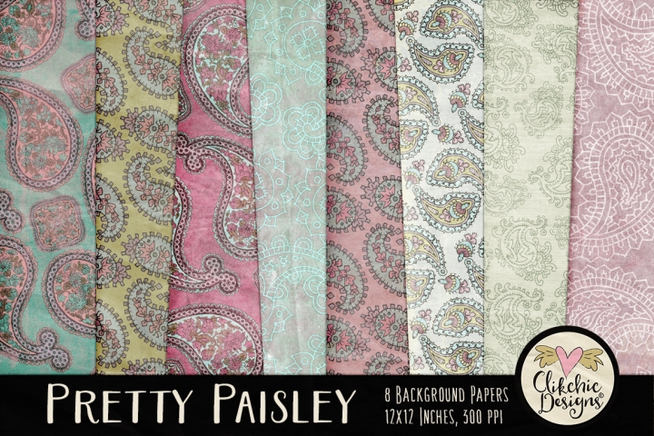 Paisley Background Textures - Shabby Pretty Paisley Papers
