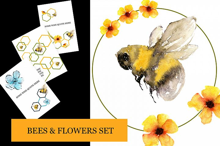 Bees and Flowers set cards, elements and wreaths in yellow
