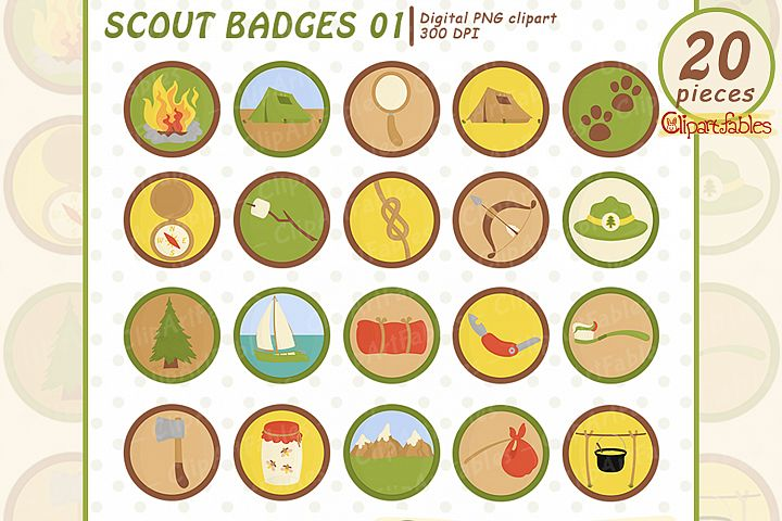 Cute SCOUT BADGES - Circle Patch clipart, Sew and Iron