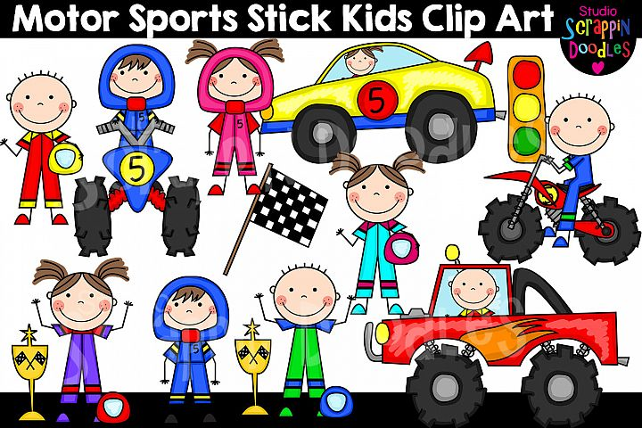 Motor Sports Stick Kids Clip Art