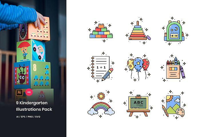 9 Kindergarten Illustrations Pack