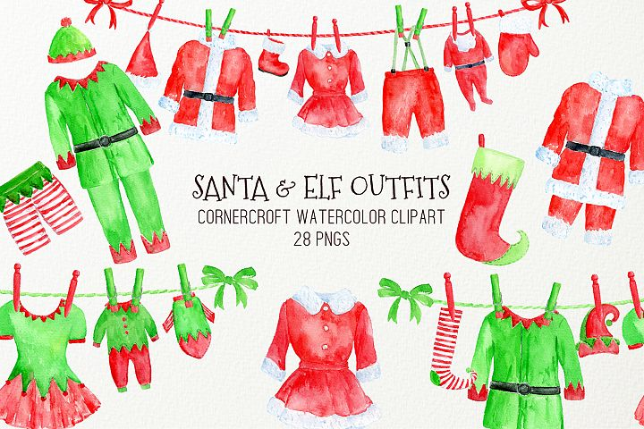 Watercolor Santa and Elf Outfit Clipart