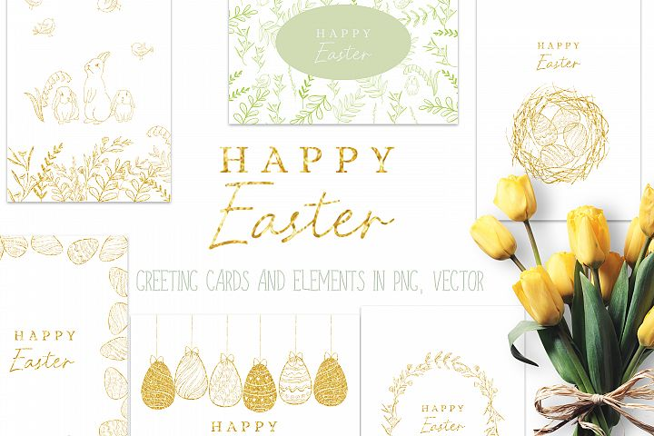 Happy Easter graphic set, DIY card stationery