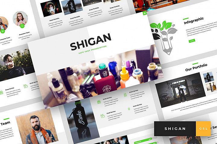 Shigan - Vape Shop Google Slides Template