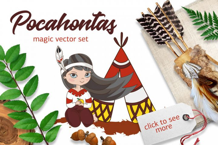POCAHONTAS Cartoon Color Vector Illustration Set