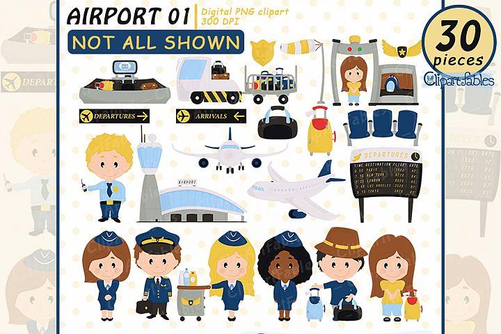Airport clipart, Cute Pilot and Stewardess clip art set