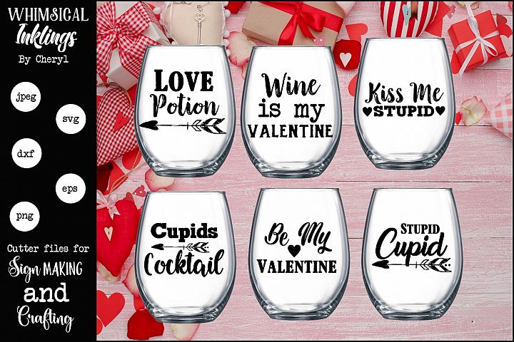 Love Potion Valentines Day Wine SVG Set