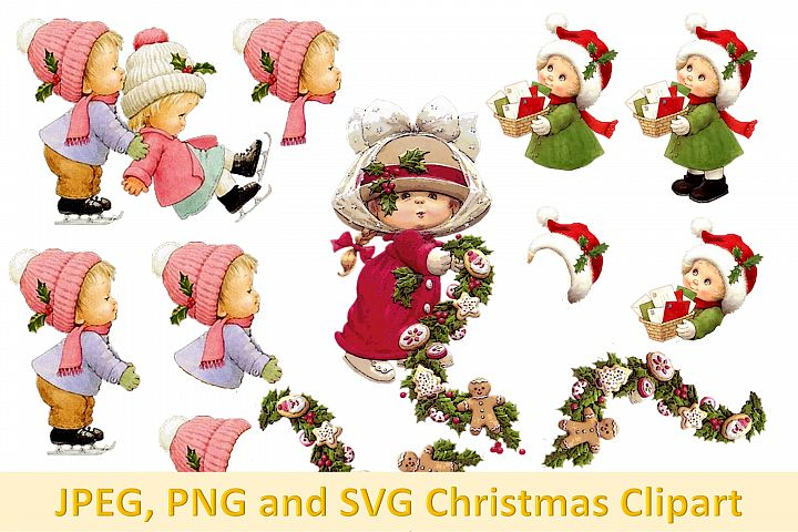 Christmas Clipart Collage with clipart PNG, JPEG and SVG
