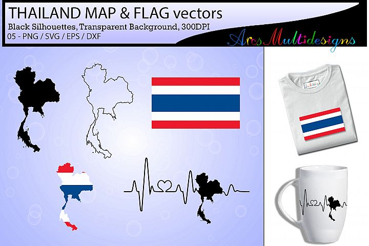 Thailand map SVG / Thailand Flag SVG / Thailand map clipart