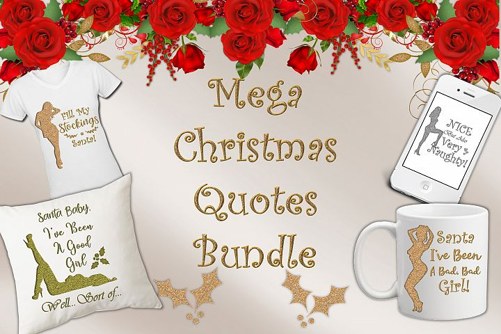 Christmas Quotes Mega Bundle with FREE Clipart. CU
