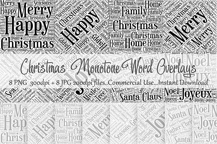 Christmas Monotone Word Overlays