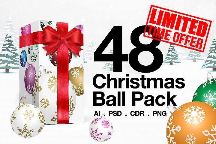 48 Christmas Ball Ornaments Pack 6 Colors