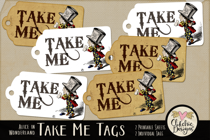 Alice in Wonderland Mad Hatter Take Me Printable Tags