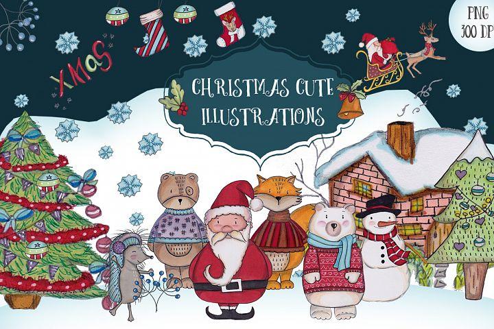 A Christmas cute illustrations set