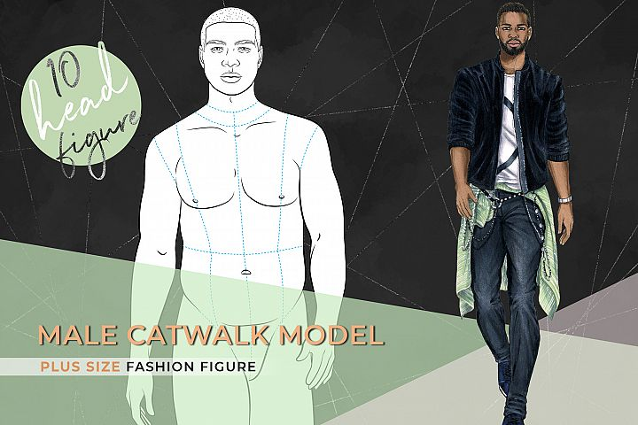 Male Plus Size Catwalk Model- 10 heads FIgure