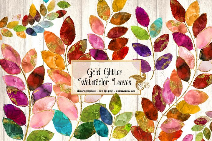 Gold Glitter Watercolor Leaves Clipart
