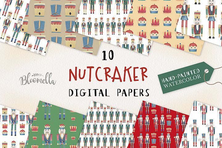 Nutcracker Seamless Patterns Digital Bow Holidays Hats