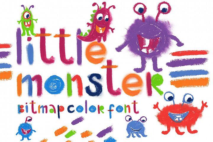 Little monster bitmap color font