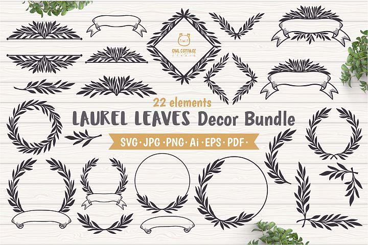 Laurel Leaves SVG Bundle, Floral Decor Bundle, Wedding Decor
