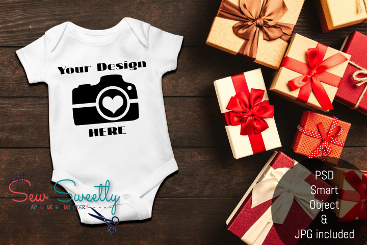 Christmas Baby Romper Shirt Mock up with PSD Smart Objects