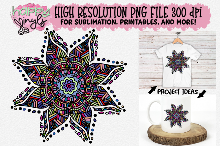 Mandala Colorful Flower Sublimation Design - A High Res PNG example