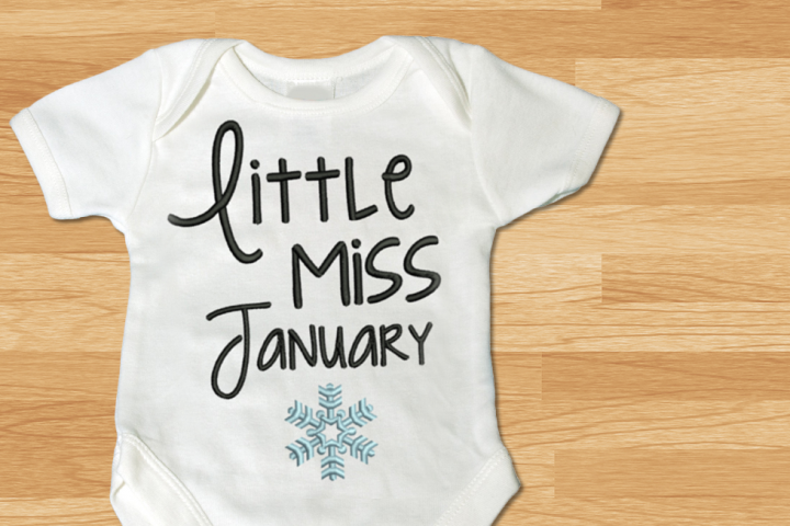 Little Miss January Snowflake Embroidery Design