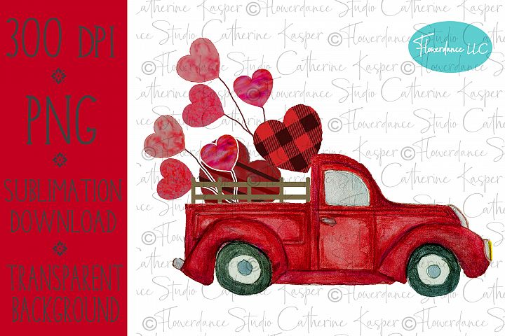 Valentines Day, Vintage Truck, Red Buffalo Plaid, Watercolor