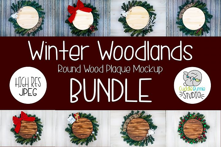 Round Wood Plaque Mockup | A Flat Lay Holiday Theme